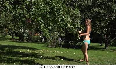 Man guy catch and spray woman girl in underwear with water...