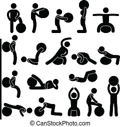 Man Gym Fitness Ball Training - A set of pictogram showing a...