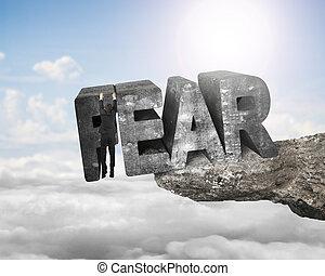 man, hängande, rädsla, 3, ord, maka, klippa, med, solljus,...