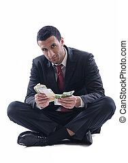 man, hållande pengar, affär
