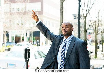 Man Hailing a Taxi Cab