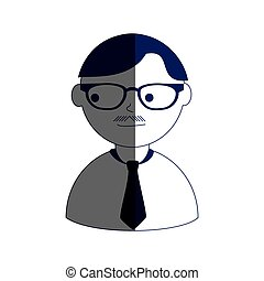man half body silhouette color with mustache and tie and glasses