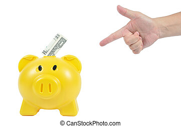 Man hand action with yellow piggy-bank, business concept