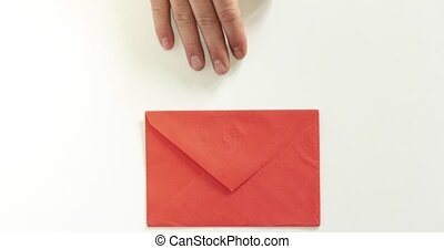 Man hand give envelope with flying hearts to woman hands Stop motion animation