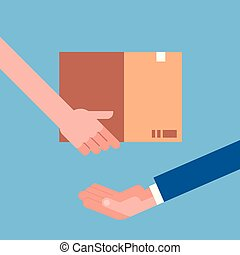 Man Hand Giving Cardboard Package To Another. Delivery Courier Shipping Concept