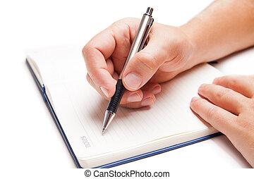 man, hand het schrijven, in, opengeslagen boek, vrijstaand, op wit