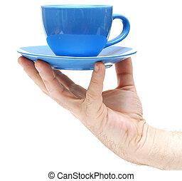 man hand hold coffee cup closeup