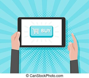 Man hand hold tablet computer with website template buy buttons. Vector illustration