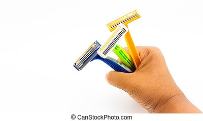 Man hand hold the variety color of razor