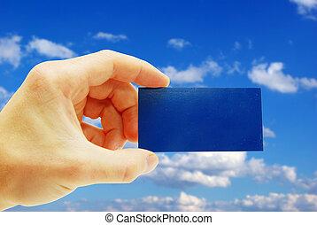 card - Man hand holding a blank business card