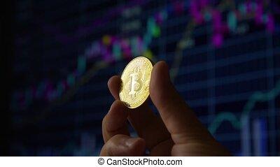 Man hand holding a gold coin bitcoin - A human hand shows...