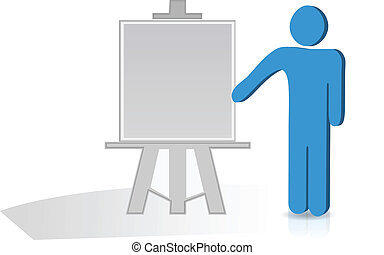 Man hand holding a pointing stick to an empty board