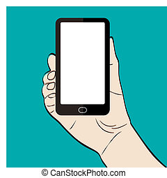 Man hand holding a smart phone on g