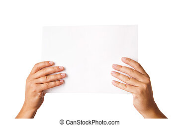 Man hand holding blank advertising card on white