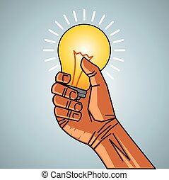 man hand holding bulb