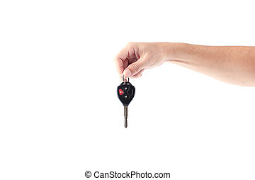 Man hand holding car keys isolated on white background