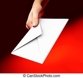 Man hand holding envelope on red background