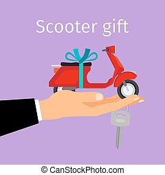 Man hand holding gift scooter - Man holding in hand on palm...