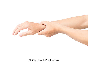 Man hand holding her wrist isolated on white background with clipping path, health care and medical
