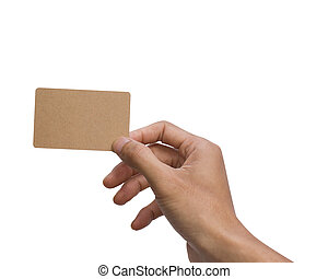 Man hand holding, showing, giving, present, brown empty card isolated on white background with clipping path for mock up or easy to moving for design your work.