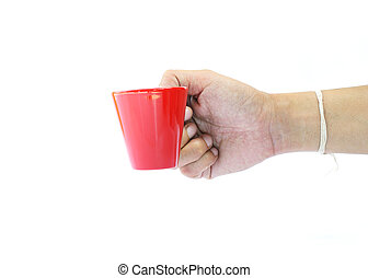 Man hand holding small coffee red cup on white backgrounds