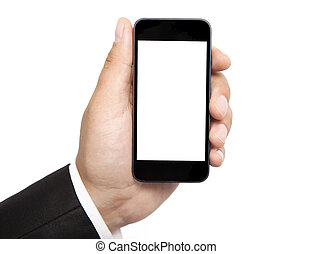 man hand holding the phone with isolated screen