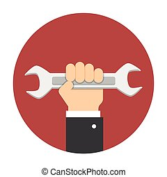 Man hand holding wrench