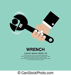 Man Hand Holding Wrench Symbol Vector Illustration