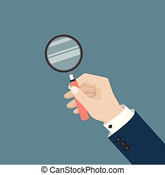 Man hand holds magnifying glass. Vector illustration in flat style