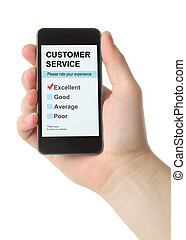 Man hand holds smart phone with customer service satisfaction survey