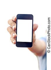 man, hand houdend, smartphone, of, telefoon