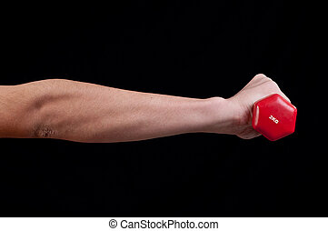 Man hand is holding a red barbell