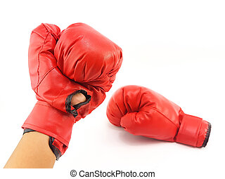 Man hand is wearing the red boxing glove