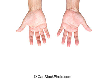 Man hand isolated on white background; clipping path