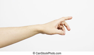 Man hand isolated on white background , clipping path , pushing hand