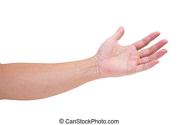 Man hand isolated on white background, clipping path