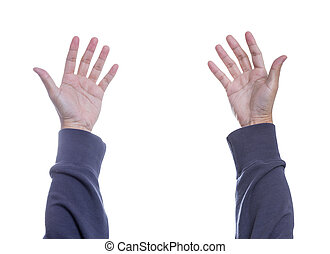 Man hand isolated on white background, with clipping path