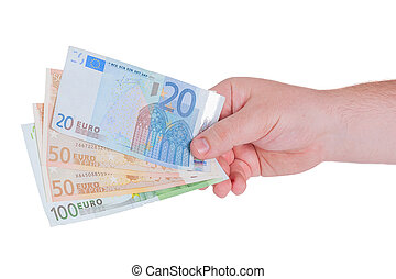 man, hand, med, pengar