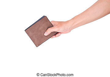 Man hand open an empty wallet isolated on white background with clipping path
