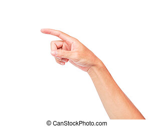 Man hand pointing isolated on white background with clipping path