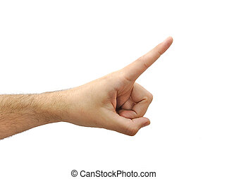 Man hand pointing with middle finger isolated on white background