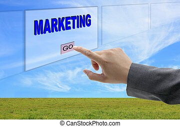 man hand push marketing