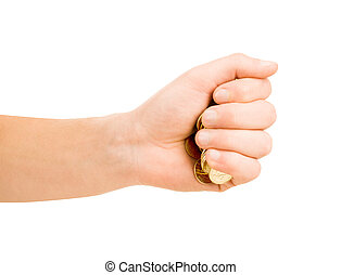 man hand putting an coin isolated on a white background