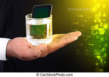 man hand showing a glass of water and tablet phone