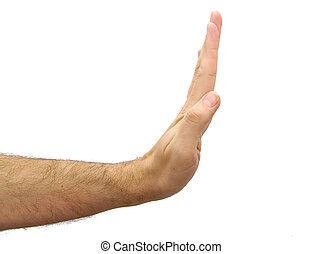 Man hand showing stop gesture isolated on white background