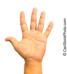 Man hand showing the five fingers isolated on a white background