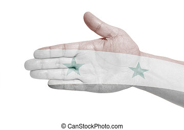 Man hand sign with Flag of Syria