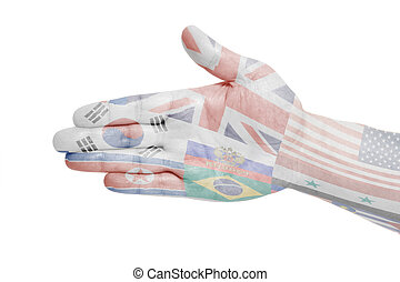 Man hand sign with Flags all countries of world