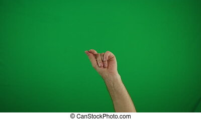 Man hand snaps her fingers over yellow background 4k