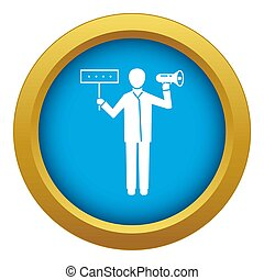 Man hand speaker icon blue isolated